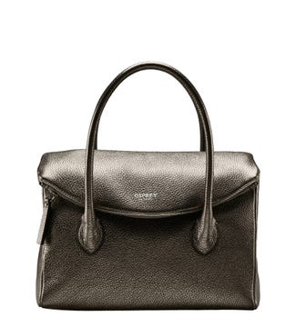 The Carina Italian Leather Grab bag in metallic bronze | OSPREY LONDON
