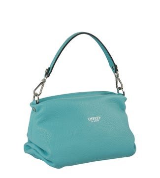 The Carina Shrug Italian Leather Handbag in aqua | OSPREY LONDON