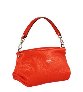 The Carina Shrug Italian Leather Handbag in hot orange| OSPREY LONDON