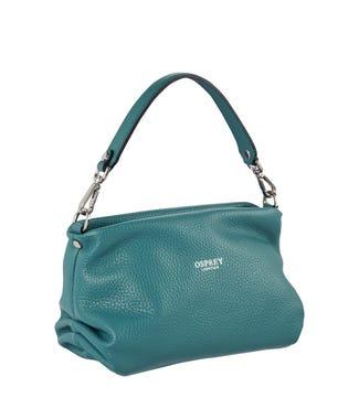The Carina Shrug Italian Leather Handbag in sea green | OSPREY LONDON