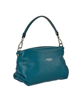 The Carina Shrug Italian Leather Handbag in teal | OSPREY LONDON