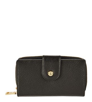 The Carla Leather Zip-Round Purse in black | OSPREY LONDON