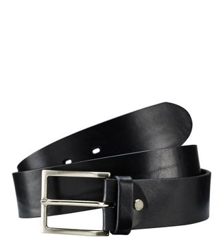The Carlo Italian Leather Jeans Belt in black | OSPREY LONDON