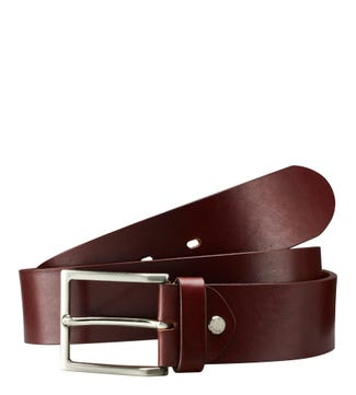 The Carlo Italian Leather Jeans Belt in cognac | OSPREY LONDON