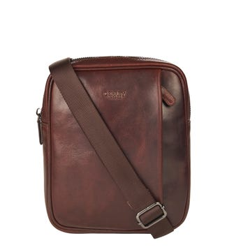 The Small Carter Leather Messenger in chestnut | OSPREY LONDON