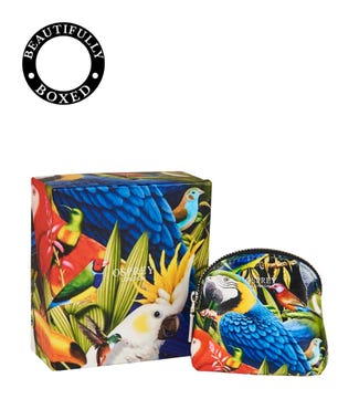 The Ciara Printed Leather Coin Purse in parrot | OSPREY LONDON