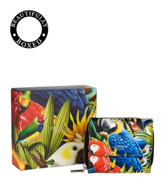 The Ciara Printed Leather Matinee Purse in parrot | OSPREY LONDON
