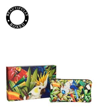 The Ciara Printed Leather Pouch in parrot | OSPREY LONDON