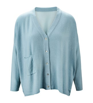 The Cocoon Cashmere & Silk Cardigan in mint