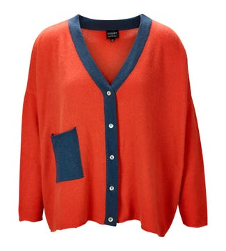The Cocoon Cashmere Cardigan in coral & slate | OSPREY LONDON