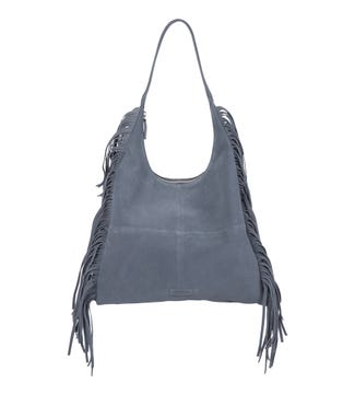 The Dakota Suede Hobo in denim blue | OSPREY LONDON