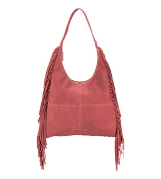 The Dakota Suede Hobo in rose pink | OSPREY LONDON