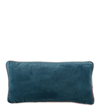 The Edge Rectangular Velvet Cushion china blue | OSPREY LONDON