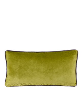 The Edge Rectangular Velvet Cushion moss green | OSPREY LONDON