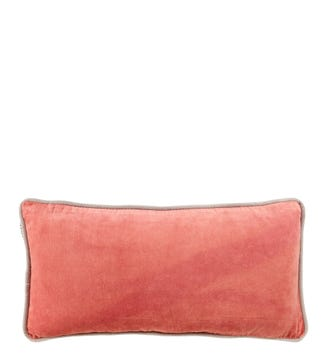 The Edge Rectangular Velvet Cushion rose pink | OSPREY LONDON