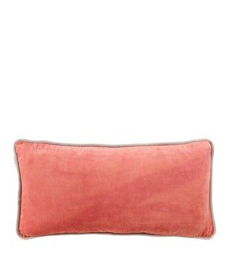 The Edge Rectangular Velvet Cushion rose pink   OSPREY LONDON