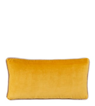 The Edge Rectangular Velvet Cushion turmeric yellow | OSPREY LONDON
