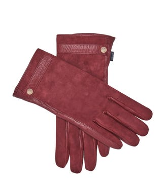 The Ella Suede & Leather Gloves in wine   OSPREY LONDON