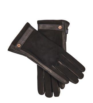 The Ella Suede & Leather Gloves in black | OSPREY LONDON