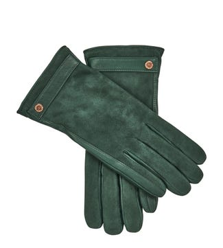 The Ella Suede & Leather Gloves in forest green | OSPREY LONDON