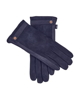 The Ella Suede & Leather Gloves in navy blue | OSPREY LONDON