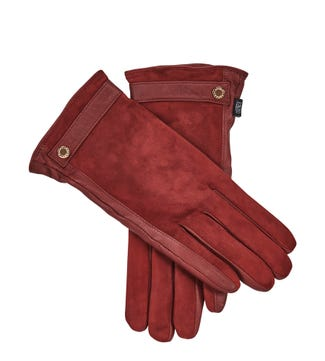 The Ella Suede & Leather Gloves in red | OSPREY LONDON