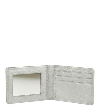 The Eloise Leather Cardholder & Mirror in silver | OSPREY LONDON