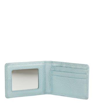 The Eloise Leather Cardholder & Mirror in topaz blue | OSPREY LONDON