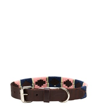 The Embroidered Leather Dog Collar Pink Navy Cream | OSPREY LONDON