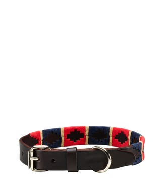 The Embroidered Leather Dog Collar in red, navy & cream | OSPREY LONDON