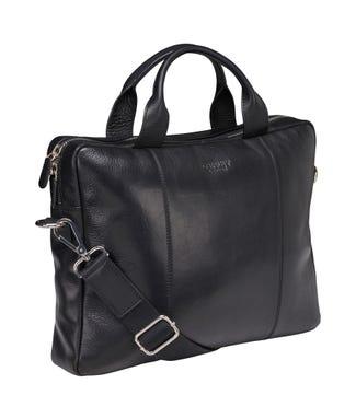 The Farringdon Leather Laptop Bag in black | OSPREY LONDON