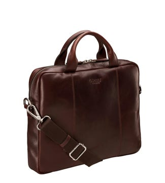 The Farringdon Leather Laptop Bag in chocolate | OSPREY LONDON