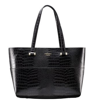 The Fitzrovia Leather Tote in black | OSPREY LONDON
