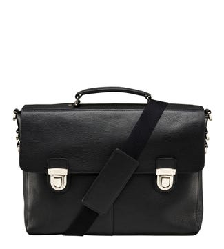 The Frankie Leather Briefcase in black | OSPREY LONDON
