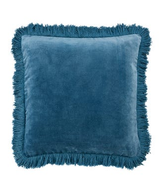 The Square Fringed Velvet Cushion china blue | OSPREY LONDON