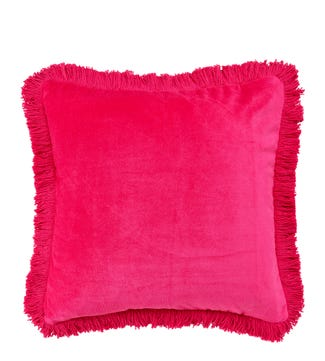 The Square Fringed Velvet Cushion fuchsia | OSPREY LONDON