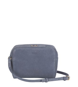 The Gemma Suede Cross-Body in denim blue | OSPREY LONDON