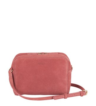 The Gemma Suede Cross-Body in rose pink | OSPREY LONDON