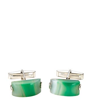 Silver & Green Agate Cufflinks | OSPREY LONDON
