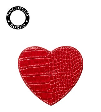 The Heart Leather Coaster in red   OSPREY LONDON