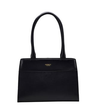 The Heidi Leather Grab in black   OSPREY LONDON