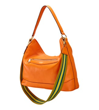 The Hendrix Leather Hobo in clementine orange | OSPREY LONDON