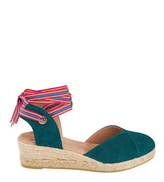 The Hendrix Spanish Suede Espadrille Sandals in teal  | OSPREY LONDON