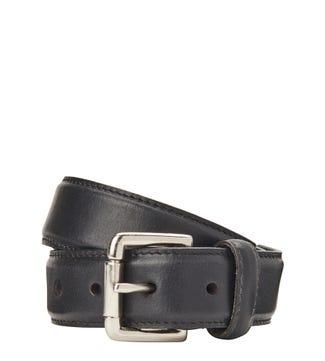 The Hewitt 3.5cm Leather Belt in black | OSPREY LONDON
