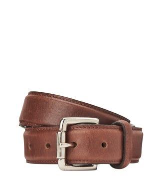The Hewitt 3.5cm Leather Belt in chocolate | OSPREY LONDON