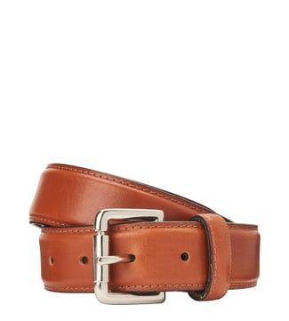 The Hewitt 3.5cm Leather Belt in cognac | OSPREY LONDON