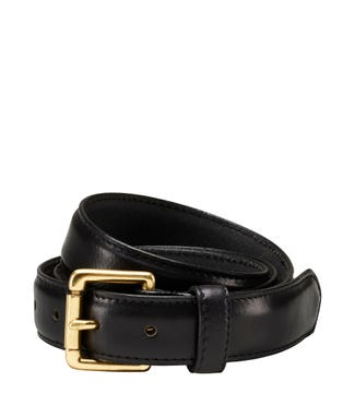 The Hewitt Three and a Half Cm Leather Belt in black | OSPREY LONDON
