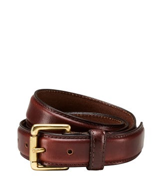 The Hewitt Three and a Half Cm Leather Belt in chocolate | OSPREY LONDON