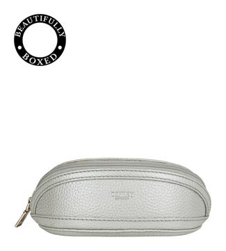 The Holly Leather Glasses Case in silver | OSPREY LONDON