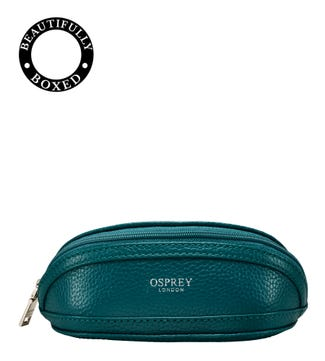 The Holly Leather Glasses Case in teal | OSPREY LONDON
